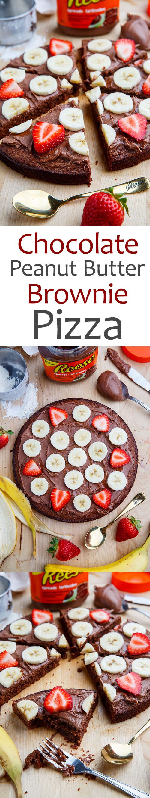 Chocolate Peanut Butter Brownie Pizza