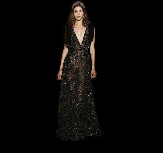 Bridal dress nero - Elie Saab, catalogo sposa 2016: modello con ampia scollatura e taglio scivolato