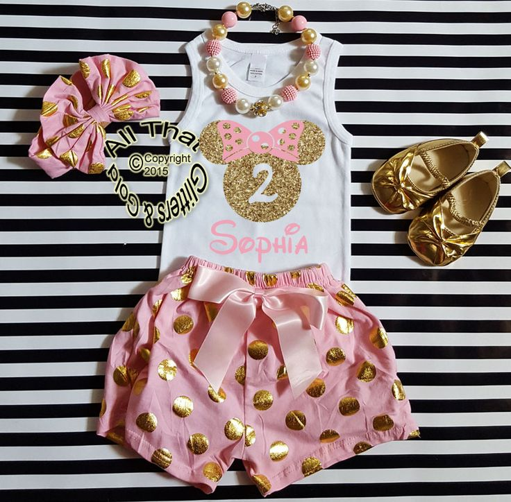 Personalized Pink and Gold Minnie Birthday Shorts Outfits For Toddlers