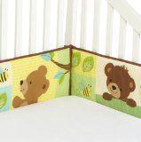 Bedtime Originals Honey Bear 4 Piece Bumper, Brown/Green