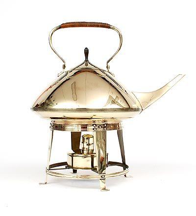 Found on www.botterweg.com - Large brass bouilloir kettle on stove design execution by Jan Eisenloeffel / the Netherlands ca.1905