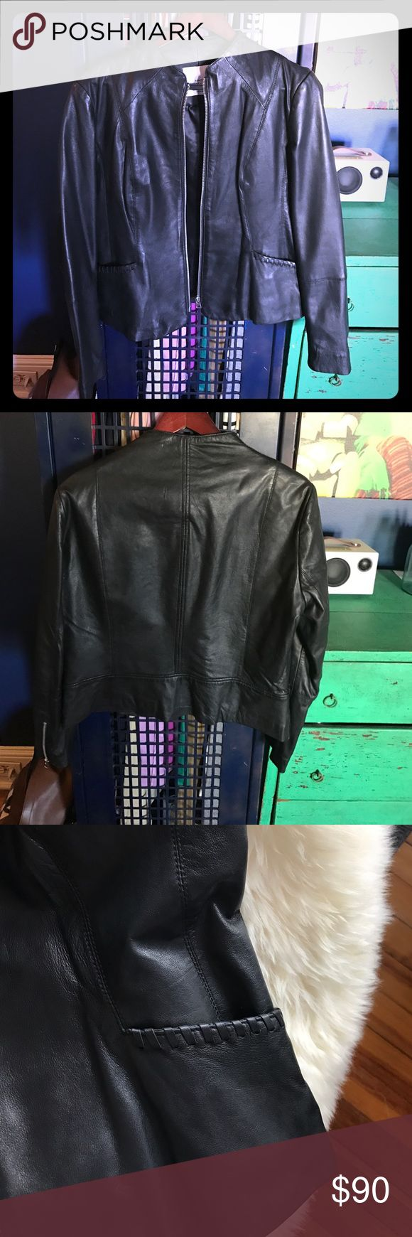 (Never Worn) MANGO leather jacket I love this piece because it can be worn as outerwear or as a blazer in colder weather. Great details on pockets and sleeves. Never worn, condition like new. Mango Jackets & Coats