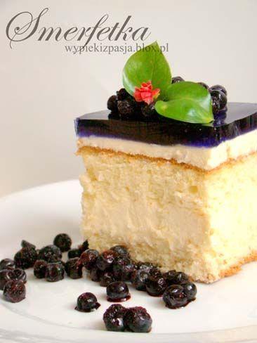 Sponge Cake with Cream and Jelly | Smerfetka (in Polish)