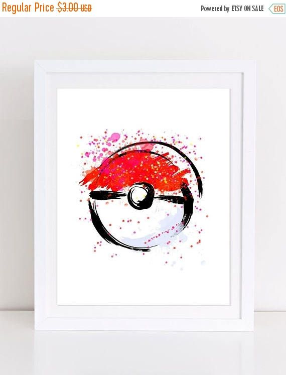 60%OFF Pokemon Poster Poke Ball watercolor poster poké ball