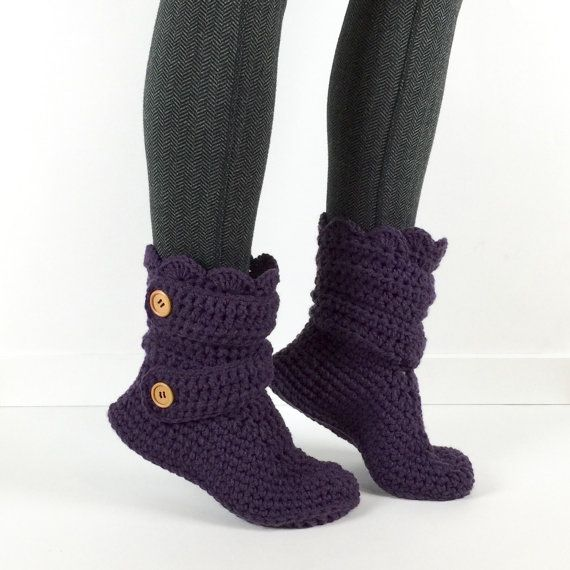 Womens Crochet Dark Purple Slipper Boots    These booties are so amazingly comfortable, youll never want to take them off!! Great for wearing