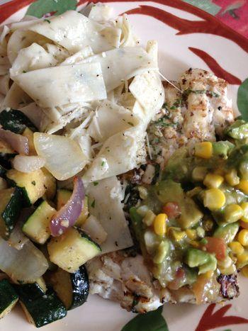 ... Sauteed squash & onions for veg.Roast corn, avocado & tomatillo s...