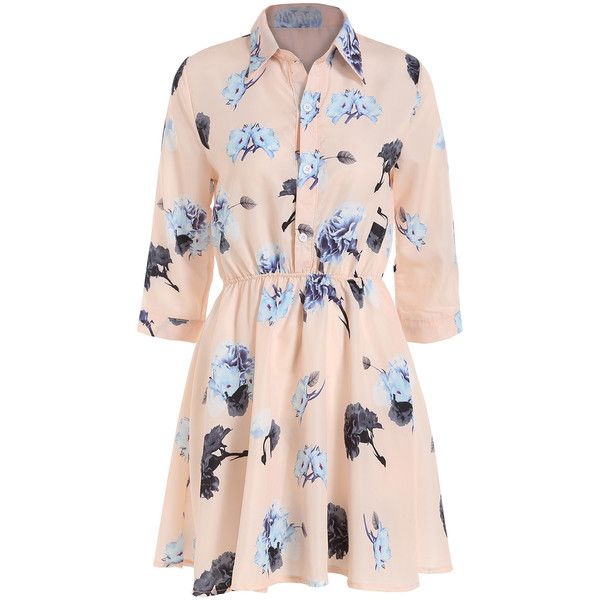 Romwe Lapel Flower Print Shirt Dress (€12) ❤ liked on Polyvore featuring dresses, vestidos, pink, pleated chiffon dress, pink floral dress, floral print dress, chiffon sleeve dress and pink dress