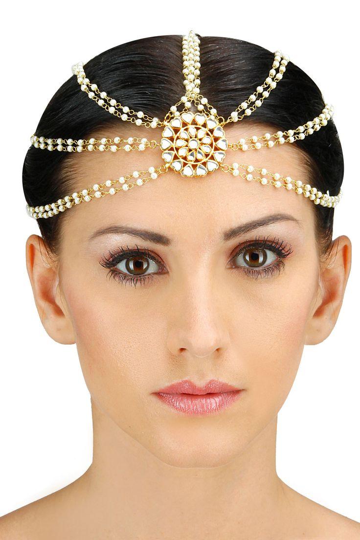 Gold plated kundan stone embellished five chain matha patti BY SORANAM. Shop now at www.perniaspopups... #designer #amazing #stunning #designer #love #perniaspopupshop #happyshopping #accessories #jewelery.