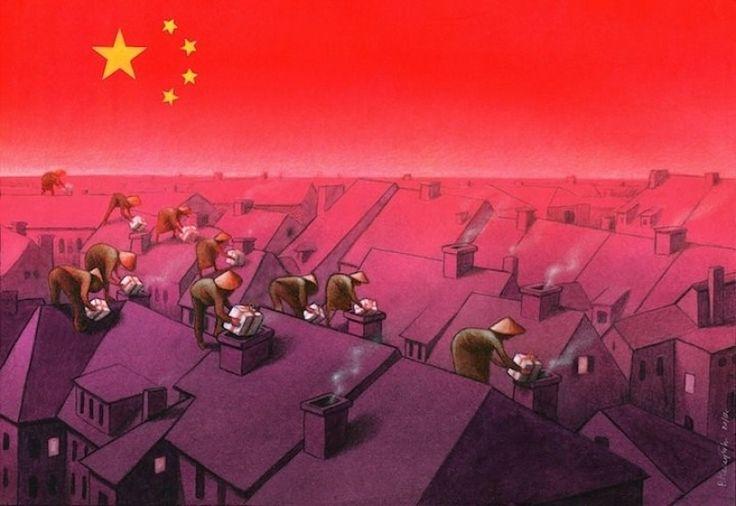 A indústria chinesa é provedora de grande parte dos bens que consumimos atualmente. Ao contrário do esperado Papai Noel, a imagem nos mostra trabalhadores chineses (cujos regime de trabalho e condições de vida são, no mínimo, questionáveis) entregando os presentes de Natal em lares ocidentais.