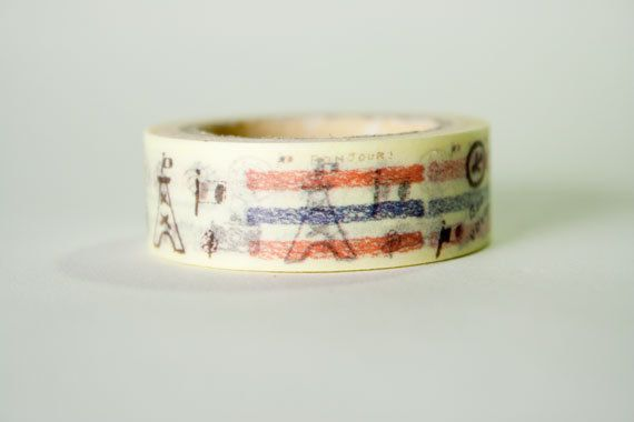 Hand Drawn Paris Washi Tape by HexagonInc on Etsy, $3.50
