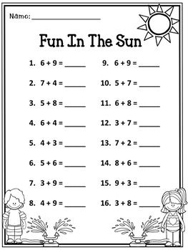 FREE Addition Practice- Fun In The Sun - This is a free addition summer practice sheet -  #freemath  #math #education
