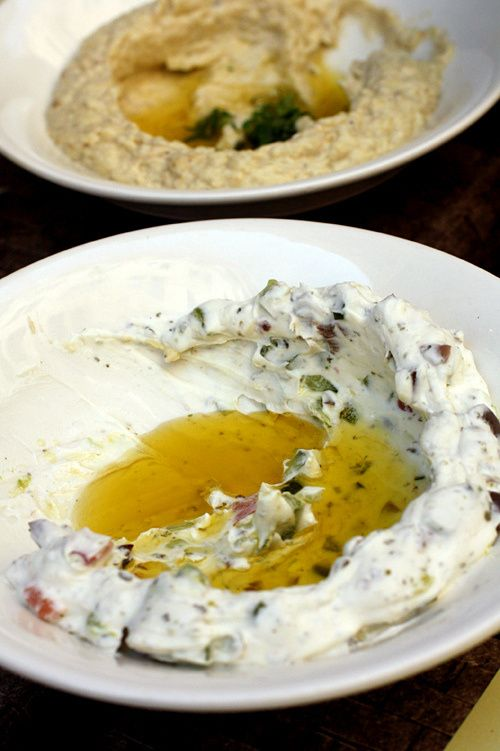 Labneh al Balad, where finely diced fresh vegetables were mixed into the thick, white spreadable cheese.