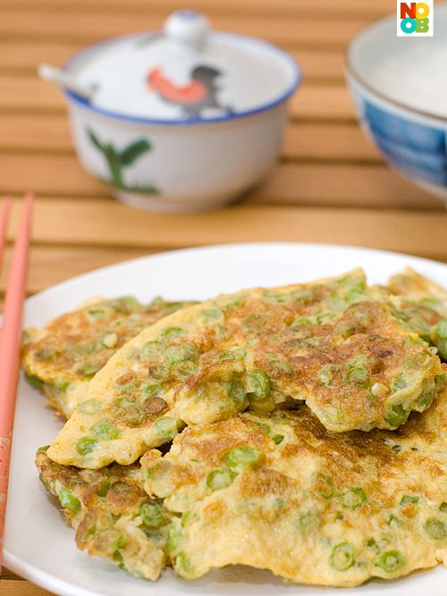 Long Bean Omelette Recipe: Egg Recipes, Bean Omelette, Asian Cooking, Green Bean, Noob Cook