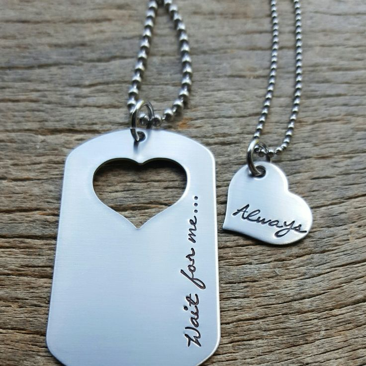 Couples Necklace Set Dog Tag with Wait for me... by One27Designs