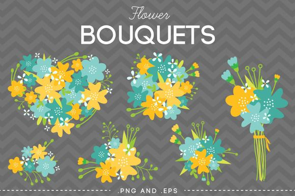 Flower Bouquet Vector Yellow Blue by AzmariDigitals on Creative Market
