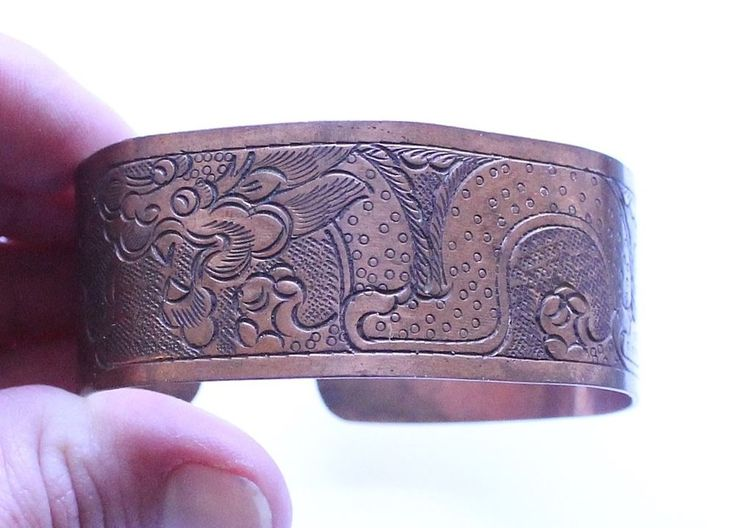 Vintage Solid Copper Serpent Snake Cuff Bracelet #Cuff