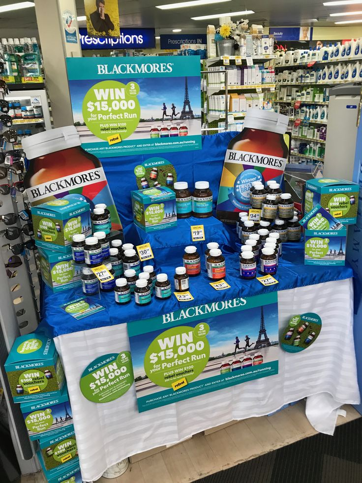 Blackmores promotion and front of store display in Bloom Chemist. Win $15k for 'your perfect run', plus 200 x $100 Rebel vouchers to be won instantly. Ties in with the Blackmores fun runs they have on at present.  #Blackmores #WIN #promotion #display #Blooms #pharmacy