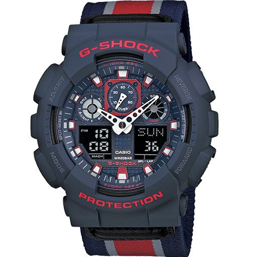 G-Shock Ga-100MC Cloth Band Watch (Navy/Red) $108.95