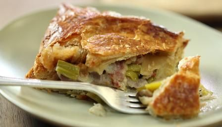 Nigel Slater's Chicken and leek pie.  Cooking with 1.5kg bone in skin on thighs. Made 2 pot pies and one baking sheet parcel. All made with filo pastry tops.