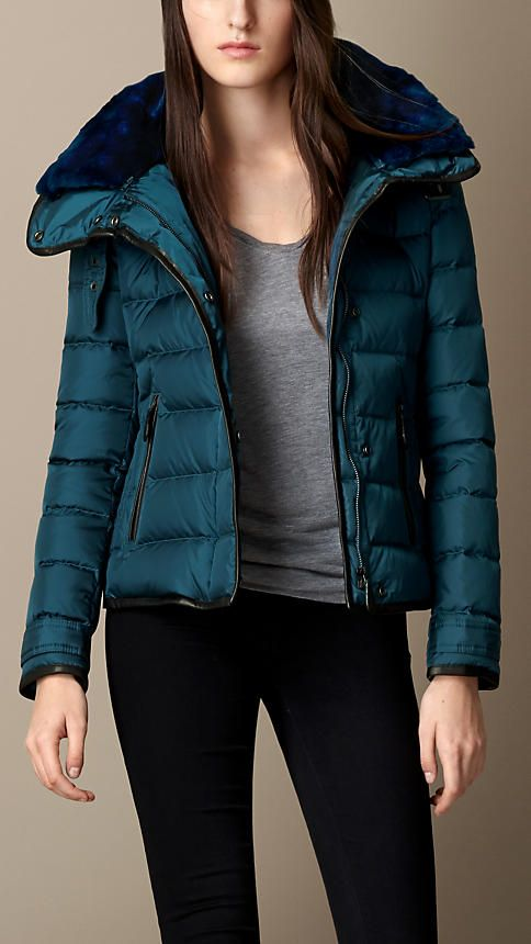 Burberry Brit Down-Filled Puffer Jacket with Shearling Topcollar