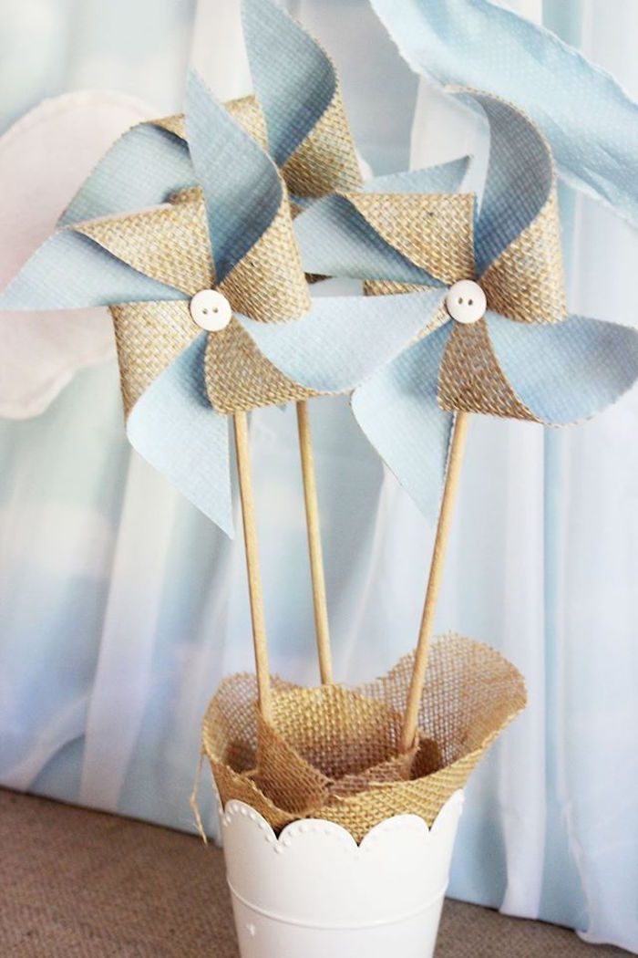 Burlap pinwheels from a Time Flies Vintage Kite Party on Kara's Party Ideas | KarasPartyIdeas.com (21)