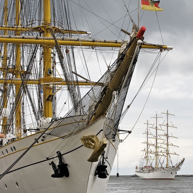 Sail training ships GORCH FOCK (left) and DAR MLOZIEZY (right) by Robert Lesti, via Flickr