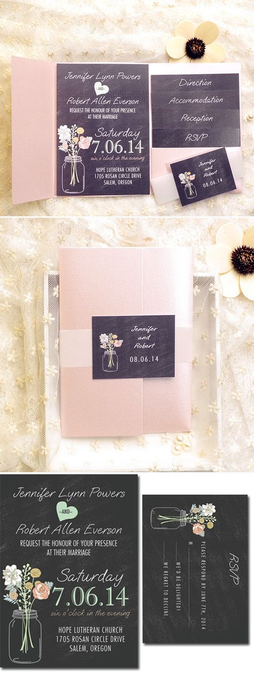 blush pink pocket assembled mason jar country rustic wedding invitations