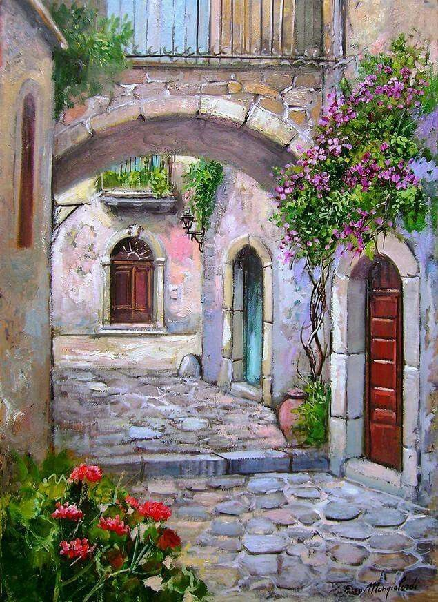 144 best watercolor cottage images on pinterest oil for Watercolor cottages