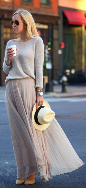 Pleated skirt trend + neutral colours + Helena Glazer  Sweater: TK Maxx, Skirt: Zara, Shoes: Sigerson Morrison, Hat: J Crew.