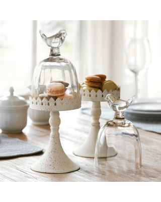We found the perfect perch for some delightful confections! Get it here: http://www.bhg.com/shop/sur-la-table-antique-bird-cloche-p50065be582a797dc893e94a6.html?mz=a