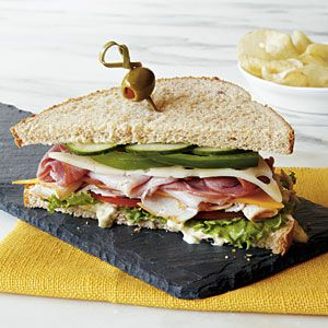 A Dagwood sandwich, popularized by the comic strip character Dagwood Bumstead, is characterized by layers of sodium- and fat-laden meats and cheeses. We've slimmed ours down by using no-salt-added and lower-sodium deli meats and lower-fat cheeses held together with a tasty homemade spread.