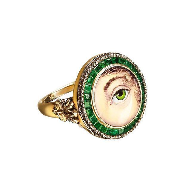 "Ring ""Guardian Eye"" gold 585 enamel emeralds #axenoffjewellery @axenoff"