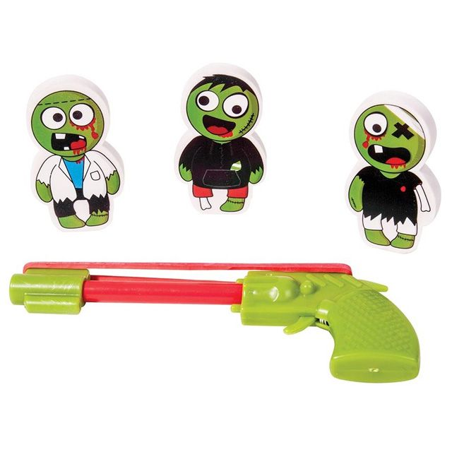 Danger! There are Zombies in the building! Quick, grab a pencil and lock on your pencil-based gun at each end. Load your rubber bands! Take out those pesky undead Zombies one at a time, but remember,