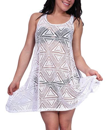 Look at this #zulilyfind! White Geometric Racerback Cover-Up #zulilyfinds