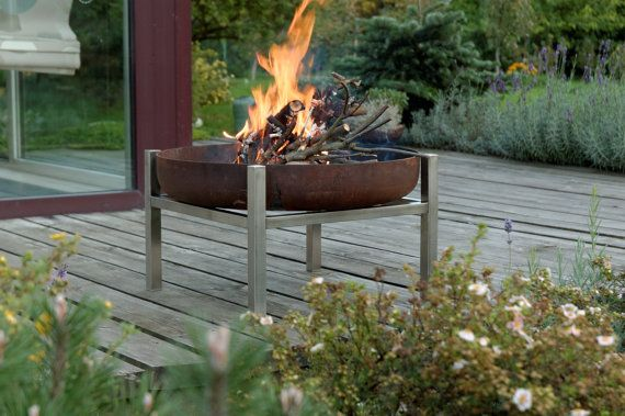 Steel Fire Bowl CRATE (Tall) - Contemporary Design