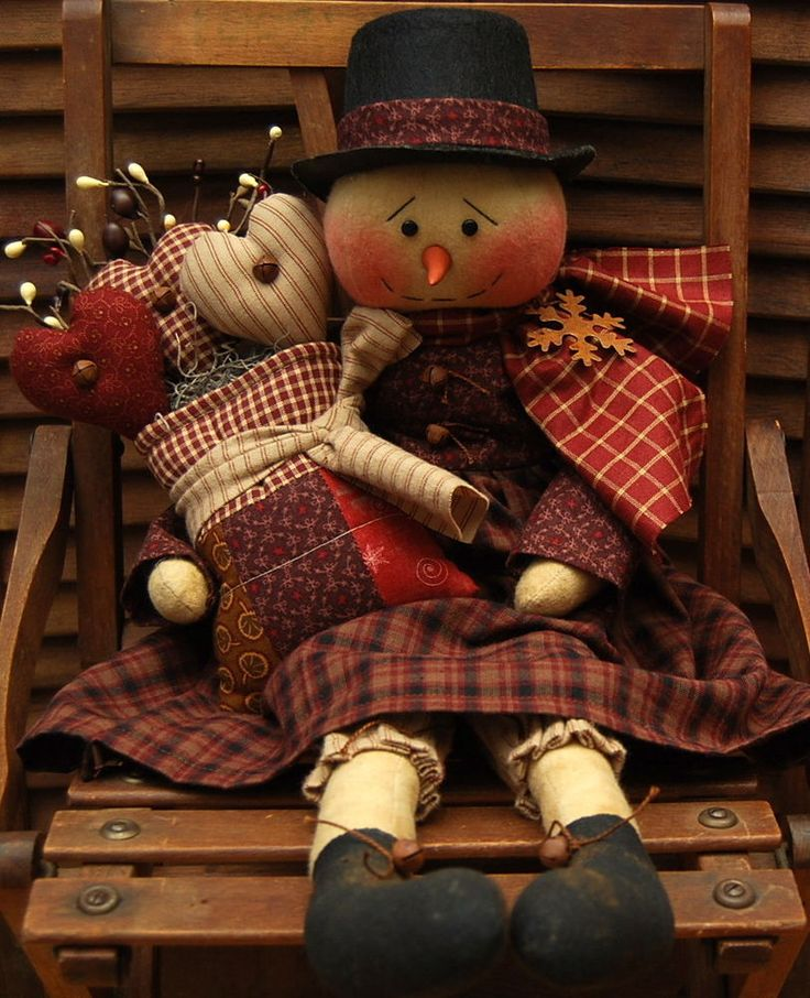 HANDMADE PRIMITIVE VALENTINES DAY GIRL SNOWMAN DOLL WINTER HEARTS #NaivePrimitive