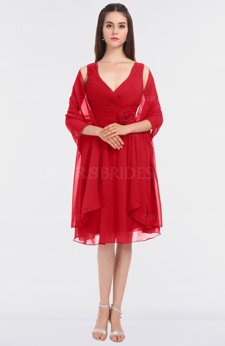 Best 25 knee length bridesmaid dresses ideas on pinterest red mature v neck sleeveless zip up knee length bridesmaid dresses style d08485 ombrellifo Image collections