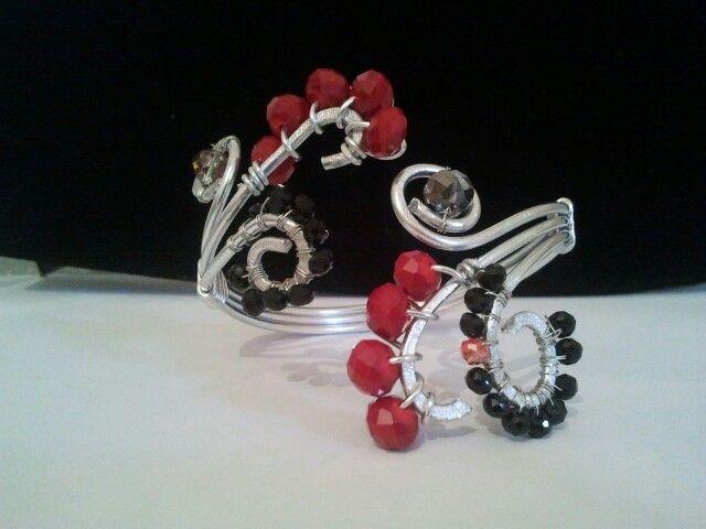 bracciale wire alluminio e cristalli
