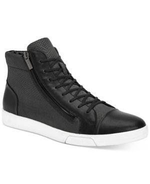 Calvin Klein Men's Berke Embossed Leather Hi-Top Sneakers - Black 11