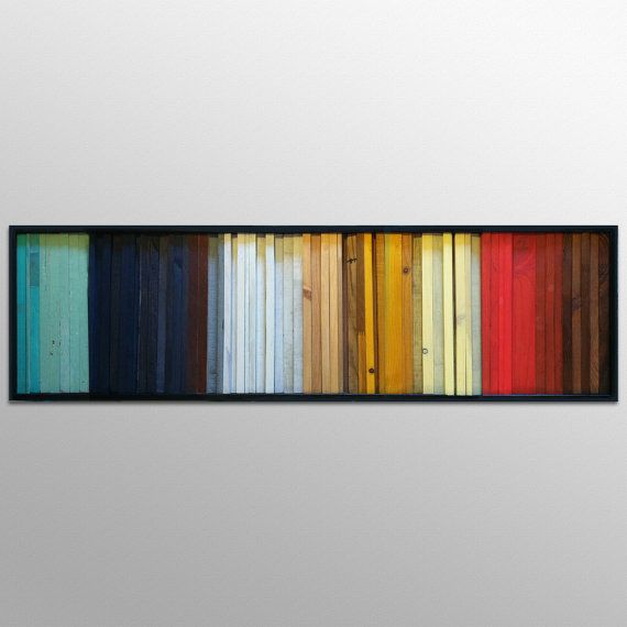 """Wood Wall Art - """"Gradient""""- Wood Stripes in Red, Yellow, Brown, Teal - 16""""x55"""" - Wood Wall Sculpture"""