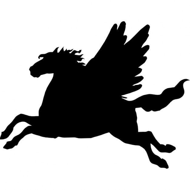 pegaso-alado-caballo-lado-negro-vista-de-la-silueta-de-forma_318-52259.jpg (626×626)