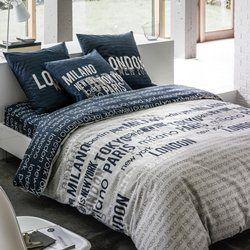 CITY Light Grey/Dark Blue Reversible Cotton Duvet Cover