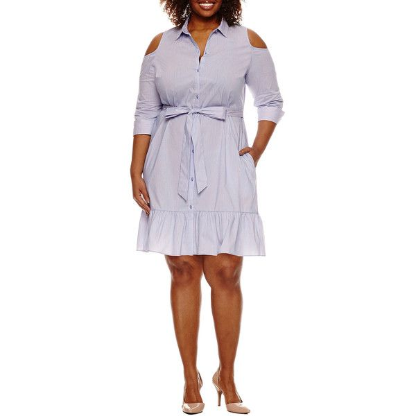 Worthington 3/4 Sleeve Cold Shoulder Shirt Dress - Plus - Blue - Size... ($30) ❤ liked on Polyvore featuring plus size women's fashion, plus size clothing, plus size dresses, plus size, white blue dress, striped shirt dress, blue and white striped dress, blue striped dress and plus size shirt dress