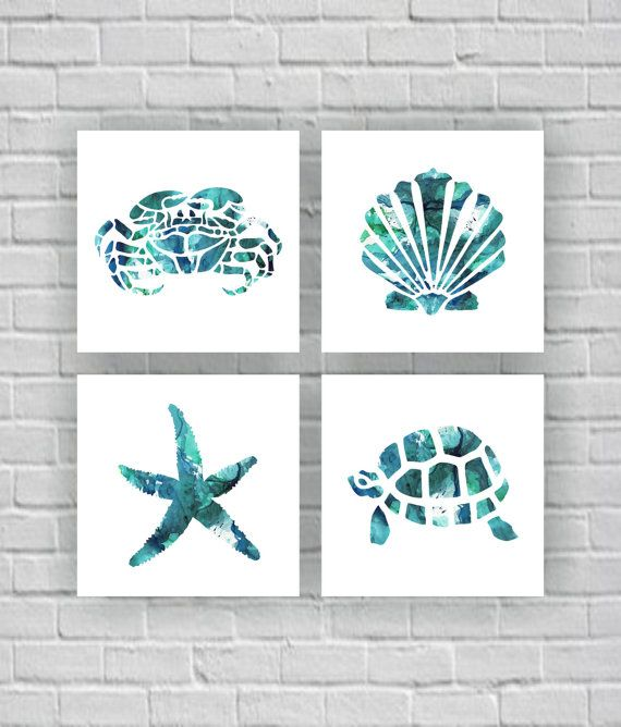 Sea Turtle Crab Starfish Sea shell silhouette by myfavoritedecor                                                                                                                                                                                 More
