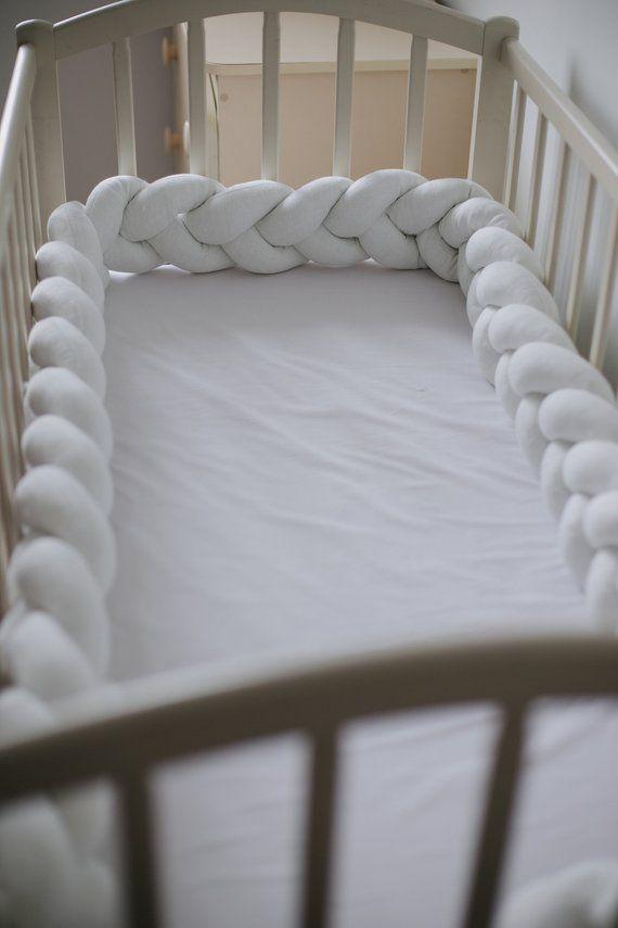 Gray Cot Bumper Knot Pillow Crib Bumper Pad Cot Sheet Crib Etsy White Crib Bumper White Crib Mini Crib Bedding
