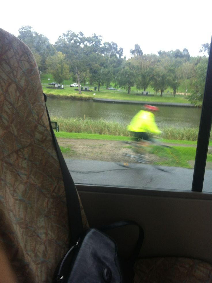 On the bus - Half focused/cyclist blurred