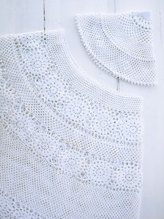 free pattern how to make a crochet lace skirt dress from a vintage crocheted tablecloth |