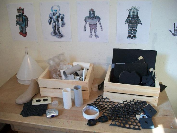I love this provocation. Pictures of robots with construction materials for creating your own.