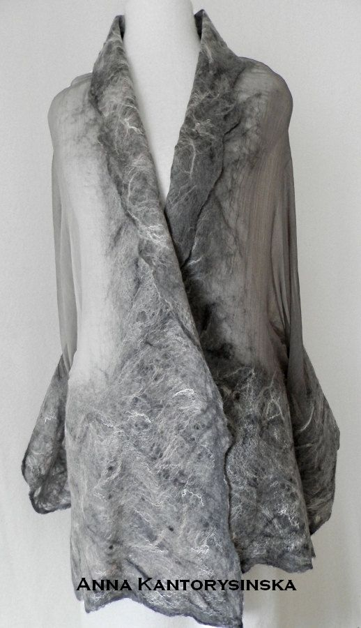 nuno felted silk scarf shawl SMOKE handmade art by kantorysinska, $124.00