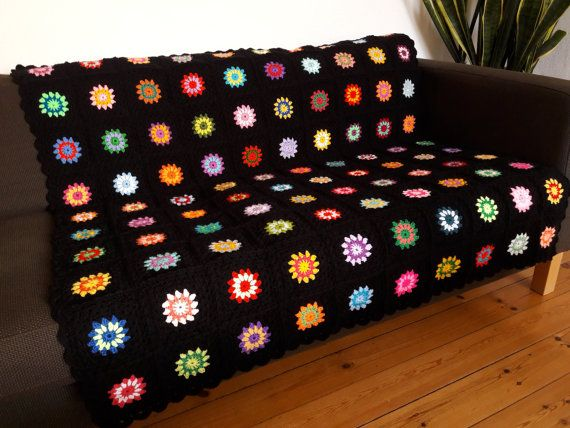 Colorful Crochet Blanket Colorful Granny Squares by PhoenixSmiles